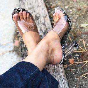 Snake Sole Perspex Lucite Open Toe Block Heel